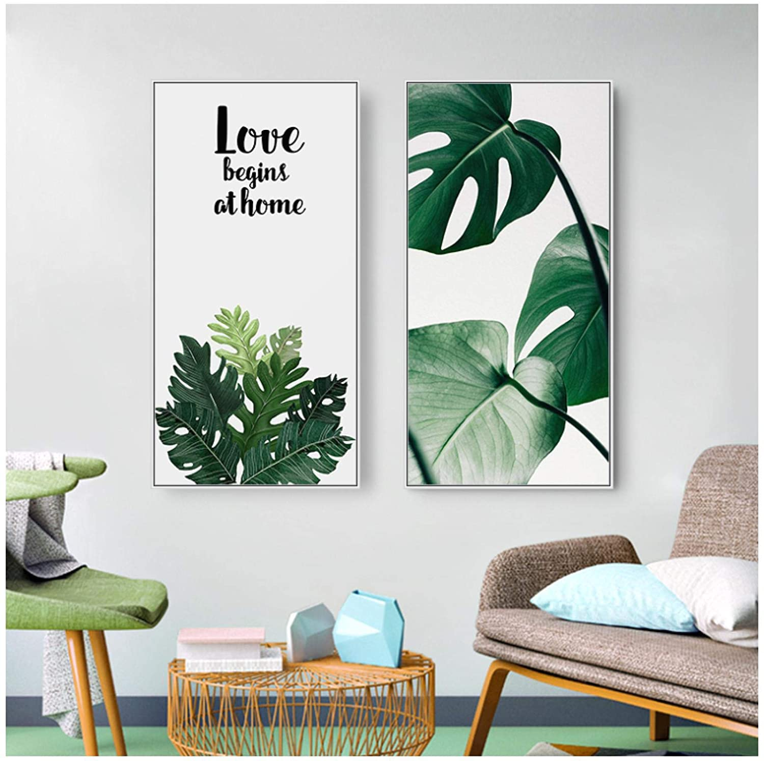 Wall Art ZXYFBH Bird Leaves Wall Art Canvas Painting Green Style Plant Posters and Prints Decorative Picture Modern Home Decoratio 27.8x11.8in(20x30cm) x2psc No Frame