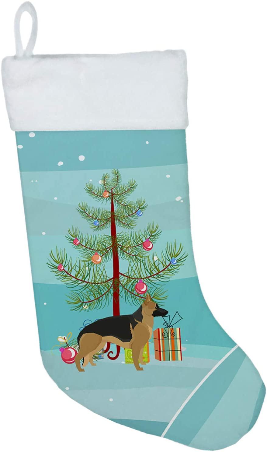 Carolines Treasures CK3540CS German Shepherd Christmas Tree Christmas Stocking, Large, Multicolor