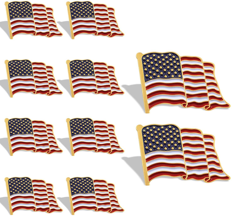 Anley American Flag Lapel Pin - Waving US Flag Pins Patriotic American Emblem - Exquisite Enamel Vivid Color Lightweight Durable - 1 Pin and 10 Pins