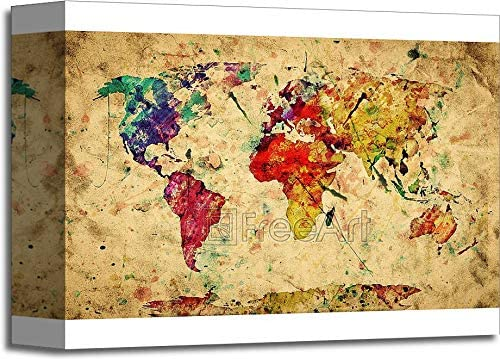 Vintage World Map. Colorful Paint, Watercolor, Retro Style Expression On Grunge, Old Paper. Paper Print Wall Art (60 in. x 90 in.)