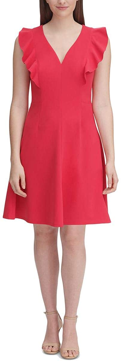 Tommy Hilfiger Womens Plus Ruffled V-Neck Cocktail Dress Pink 14