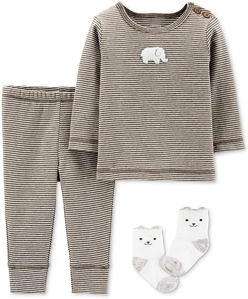 Carter's Baby Boy Clothing Set/Pajamas,Baby Socks,Brown,Elephant,Preemie
