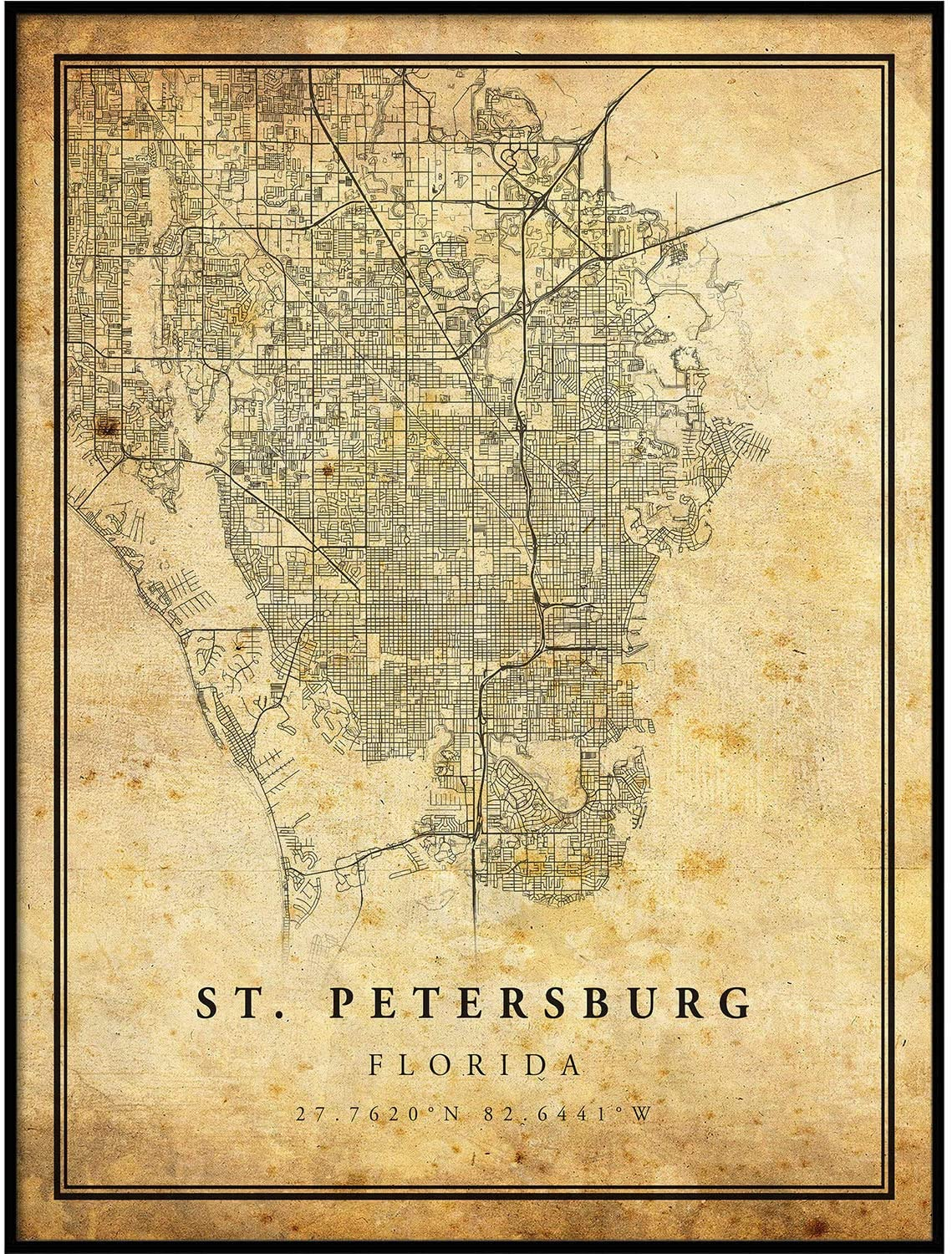 St. Petersburg map Vintage Style Poster Print | Old City Artwork Prints | Antique Style Home Decor | Florida Wall Art Gift | Old map Print 11x14