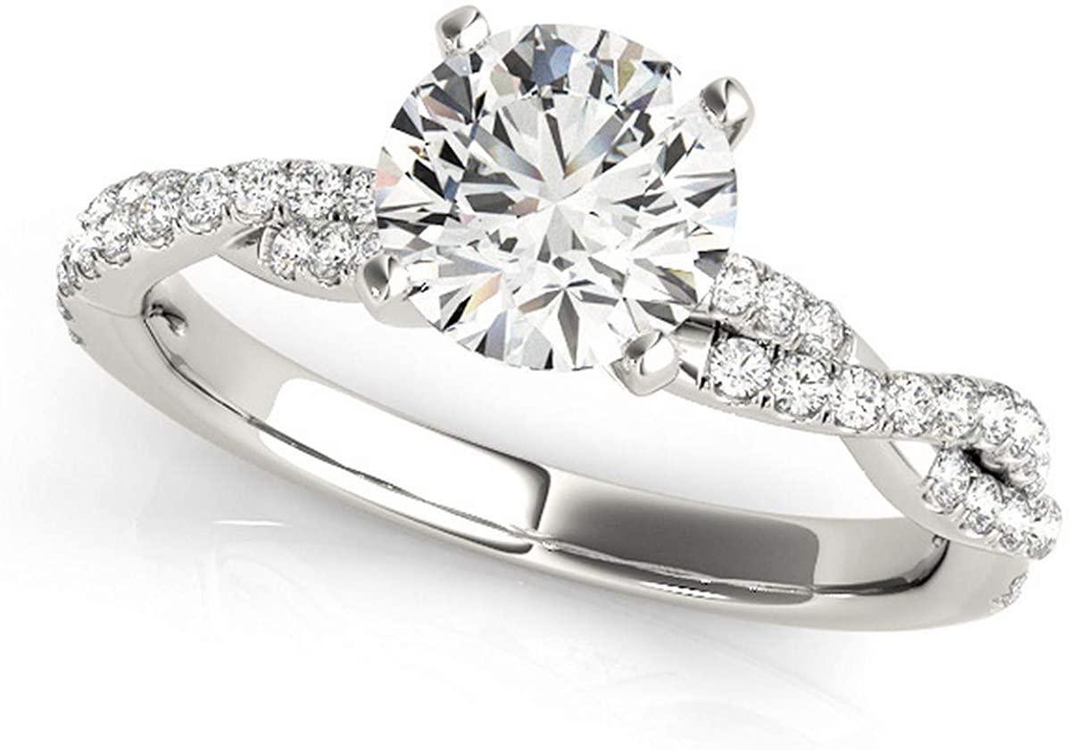 Diamond Twist Sidestone Accented Engagement Ring Palladium (1.69ct)