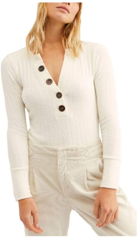 Free People Women's Oliver Henley Shirt, Size X-Large - Ivory