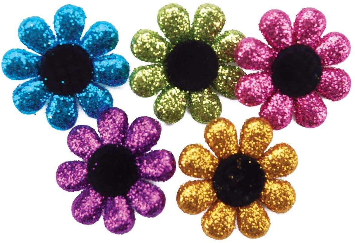 Jesse James Dress It Up Embellishments: Glitter Flowers