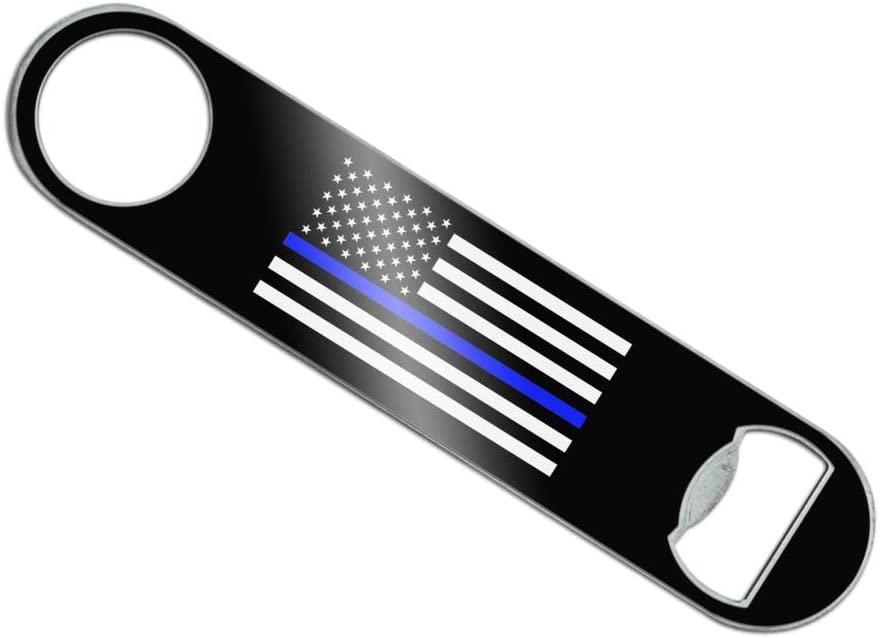 Thin Blue Line American Flag Stainless Steel Vinyl Covered Flat Bartender Speed Bar Bottle Opener