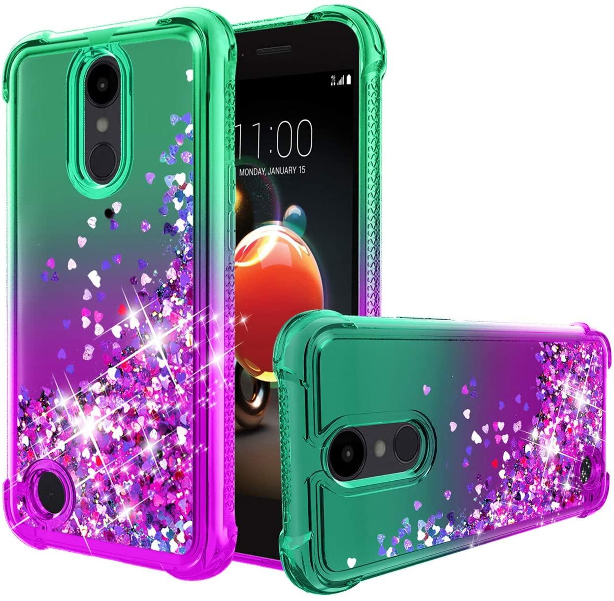 LG Aristo 3 Case,Tribute Empire/Aristo 2/Aristo 2+ Plus/Aristo 3+ Plus/Tribute Dynasty/K8+/Fortune 2/Zone 4/Rebel 4/Phoenix 4/k8 2018 Case,Quicksand Bling Glitter TPU Shockproof Case.Mint/Purple