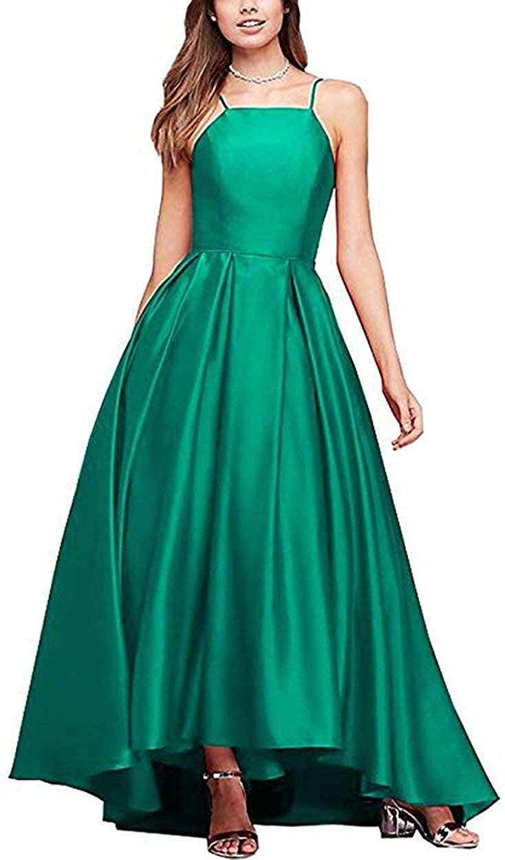 PromC Women Satin Spaghetti Prom Dresses 2020 Long with Pockets Formal Evening Wedding Party Gowns A274
