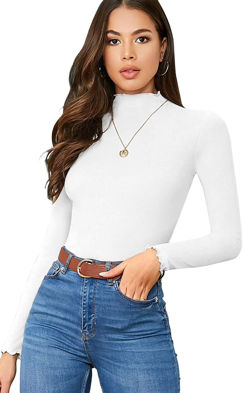 LYANER Women's Basic Knit Mock Neck Lettuce Trim Slim Fit T Shirt Long Sleeve Tee Top