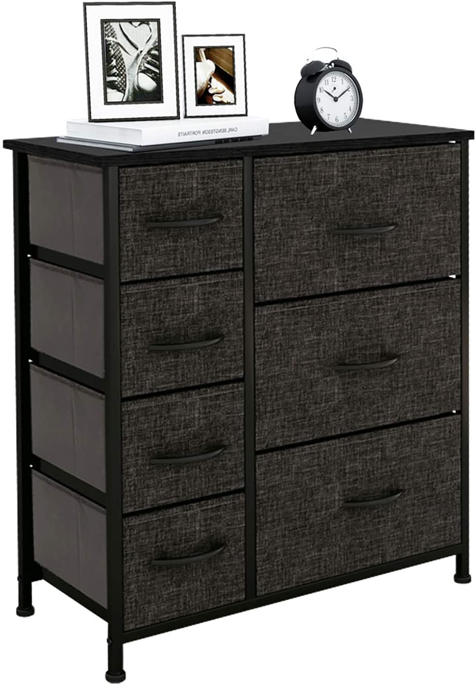 High Dresser with 7 Drawers for Bedroom, Living Room, Closets & Nursery - Fabric Storage Tower, Organizer Unit with Sturdy Steel Frame, Easy Pull Fabric Bins, Wooden Top & Handles - Dark Grey/Black