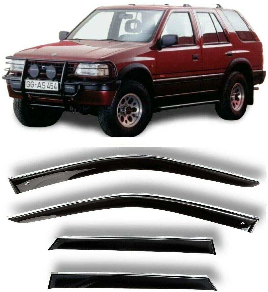 Chrome Window Deflector Set of 4-Pieces - Car Trim Side Vent Shades - Air/Rain Guards Ventvisor Compatible with Opel Frontera A 1992-1998