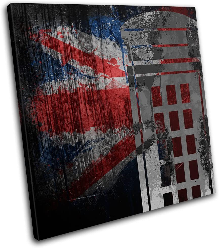 Bold Bloc Design - Union Jack Grunge Post Box Urban 90x90cm SINGLE Canvas Art Print Box Framed Picture Wall Hanging - Hand Made In The UK - Framed And Ready To Hang