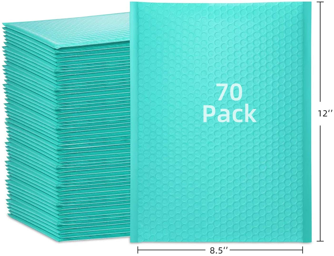 LabelChoice 8.5 x 12 Inch Teal Poly Bubble Mailers #2 Padded Envelopes Bubble Envelope Cushion Envelopes Pack of 70
