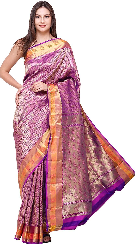 Exotic India Royal-Lilac Brocaded Wedding Sari from Bangalore with Zari - Purple