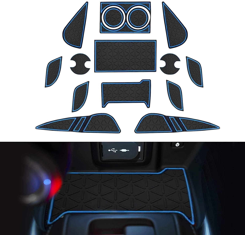 YEE PIN 2021 Venza Door Gate Slot Mats Door Mats Fit for Venza 2021 Center Console Liner Accessories Non-Slip Rubber Mats 17 Pcs/Set (Blue)