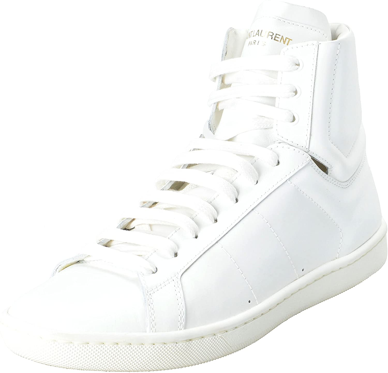 Saint Laurent Women's White Leather Hi Top Fashion Sneakers Shoes