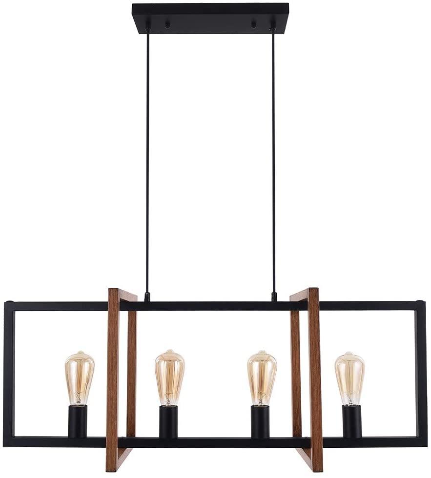 OYIPRO Industrial Kitchen Island Light, 4 Lights Modern Pendant Light Black and Farmhouse Wood Textured Metal Frame Hanging Lamp