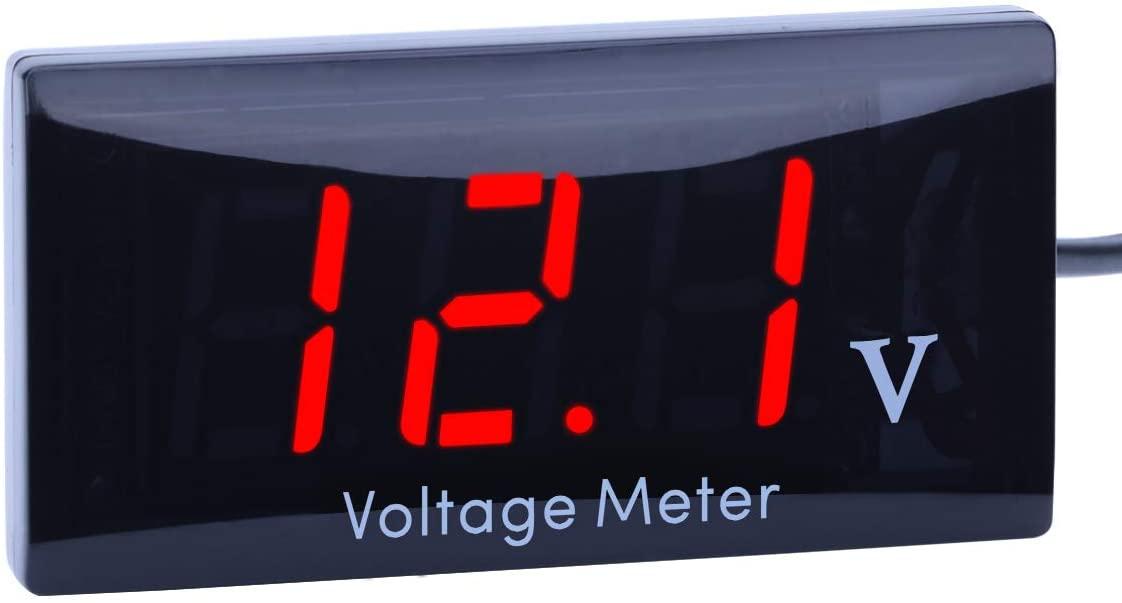 QWM Car Voltage Meter,Cute little DC 12V voltmeter,Large LED Display QWM Voltage Meter for Car Motorcycle and 12V Battery(Red)
