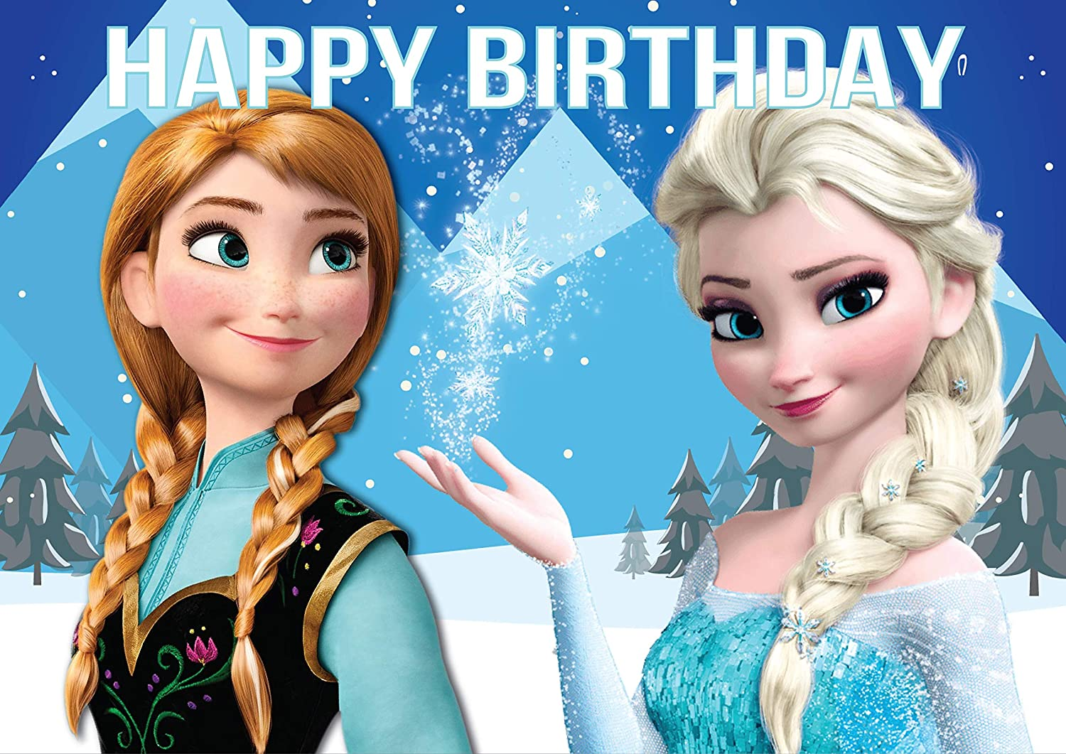 8.3 x 11.7 Inch Edible Square Cake Toppers – Frozen Themed Birthday Party Collection of Edible Cake Decorations