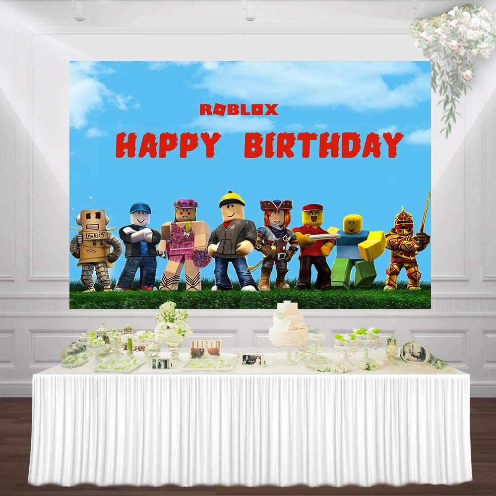 Backdrop for Birthday Party Video Game Photo Background Vinyl Photography Backdrop Roblox Game Theme Birthday Party Background Birthday Party Decorations Supplies for Boys Gamer 75FT
