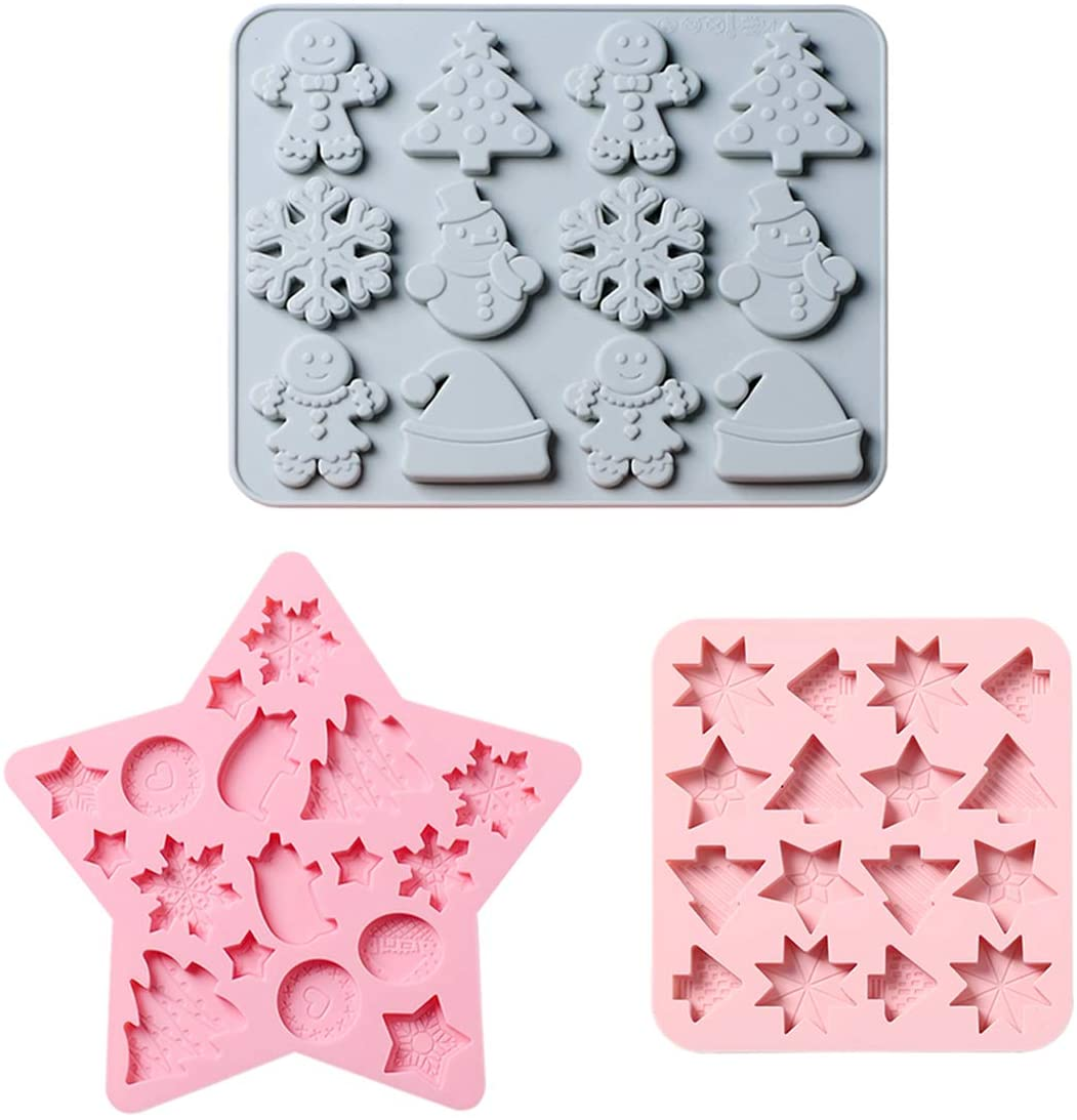 Christmas Silicone Molds 3 Pack Hard Candy Chocolate Molds for Xmas Party Gingerbread Man Snowflake Mold for Baking Cookies Christmas Decoration