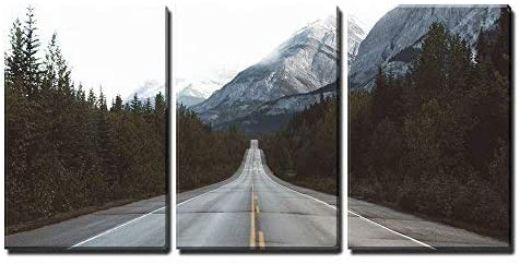 wall26 - 3 Piece Canvas Wall Art - Road in Mountain Area - Modern Home Art Stretched and Framed Ready to Hang - 16