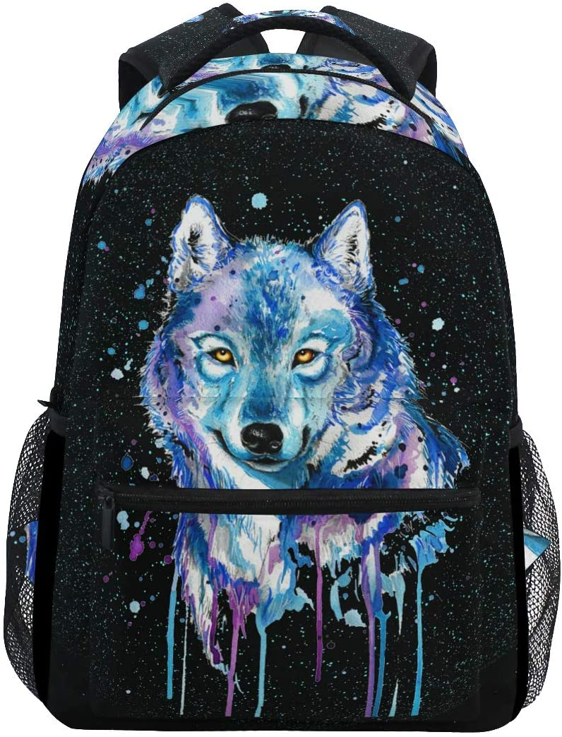 Backpack Travel Universe Wolf Space Galaxy School Bookbags Shoulder Laptop Daypack College Bag for Womens Mens Boys Girls