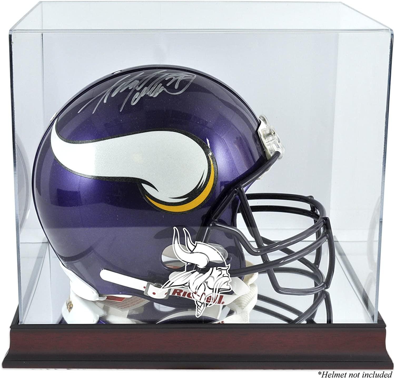 Minnesota Vikings Mahogany Helmet Display Case with Mirror Back - Football Helmet Logo Display Cases