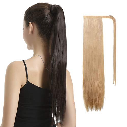 BARSDAR 26 inch Ponytail Extension Long Straight Wrap Around Clip in Synthetic Fiber Hair for Women - Strawberry Blonde mix Bleach Blonde Unevenly