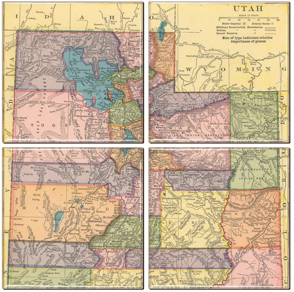 Utah Coaster of Vintage Map (Set of 4)