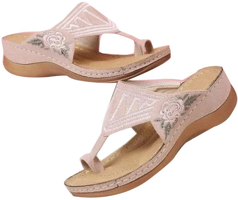Meshin Embroidery Comfy Wedges Sandals Casual Summer Beach Daily Women Slipper Thong Platform Sandals