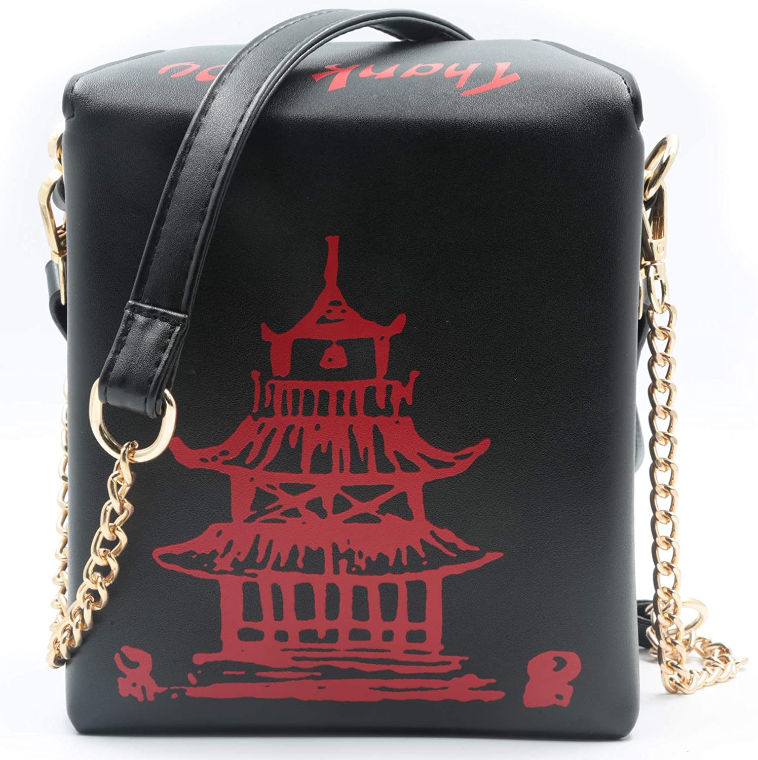 QiMing Tower Print Crossbody Shoulder Bag,Pu Chinese Takeout Box Totes Purse for Women