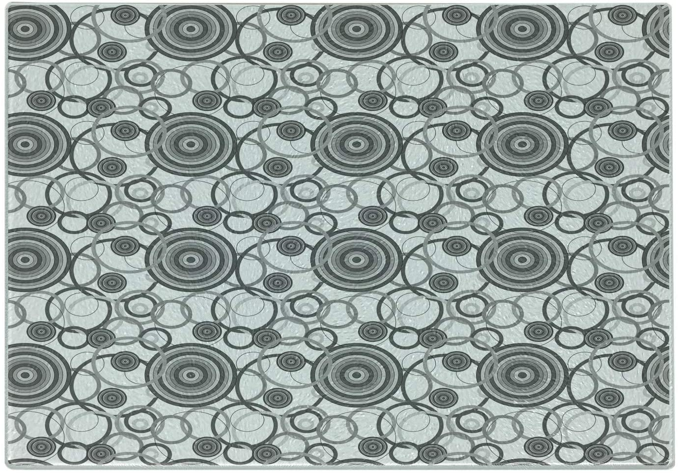 Lunarable Grey Cutting Board, Swirling Circles in Movement Retro Style Simple Modern Patterns Graphic Print Home, Decorative Tempered Glass Cutting and Serving Board, Small Size, Grey White