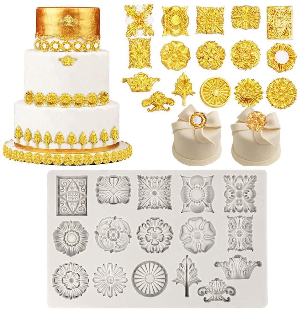 YOUAI Cake Mould, Baroque Fondant Mold Medallion Silicone Mold for DIY Baking Cake Cupcake Decor