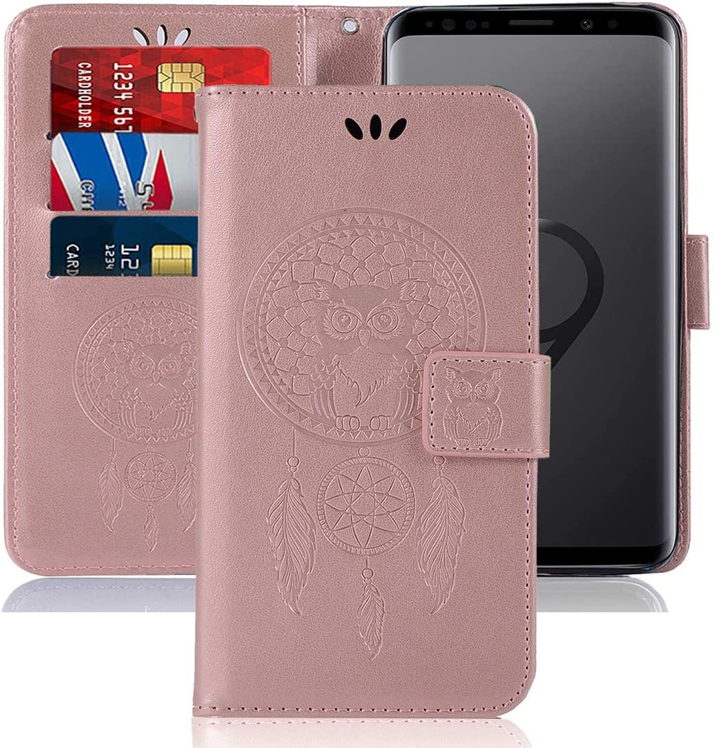 Sidande for Galaxy S9 Case,Galaxy S9 Wallet Case with Card Holder, [Wrist Strap] Owl Premium PU Leather Flip Phone Case Cover for Samsung Galaxy S9 (Rose Gold)