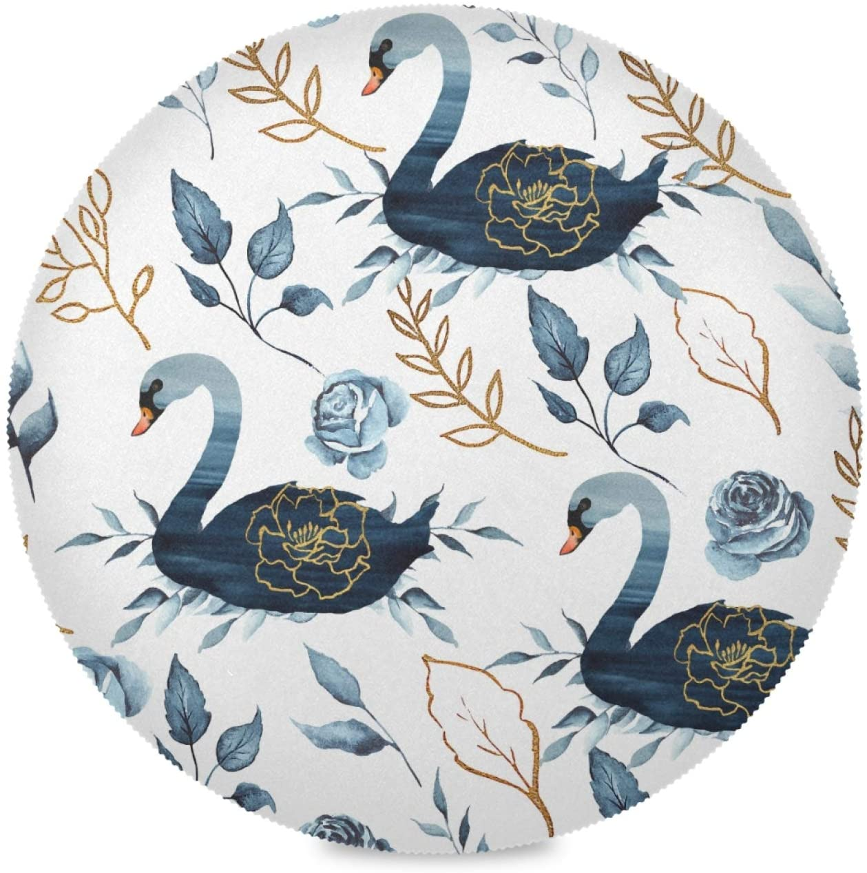 Wudan Round Placemats Swan Gold Elements Flowers Leaves Set of 6 Pieces Heat-Resistant Table Mats for Dining Kitchen Table Decoration Skid-Proof Stain Resistant Easy to Clean(Diameter15.4inch)