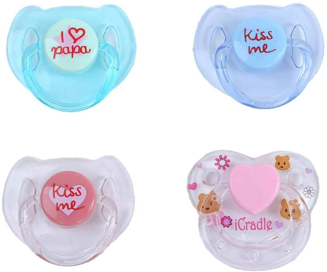 Zero Pam 4 pcs Magnetic Pacifier for Reborn Baby Doll, Tiny Acrylic Dummy Pacifiers for Replacement of Newborn Reborn Doll Kits Supplies 4 Colors