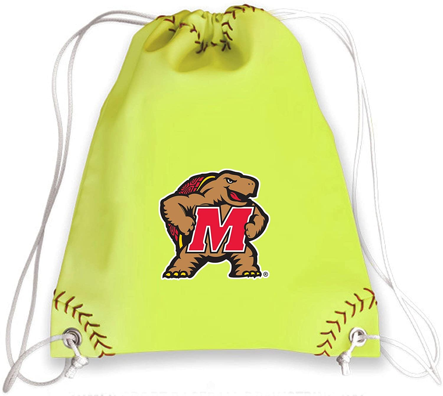 Zumer Sport Maryland Terrapins Softball Leather Drawstring Shoulder Backpack Bag - made from the same exact materials as a softball - Neon Yellow with genuine red stitching