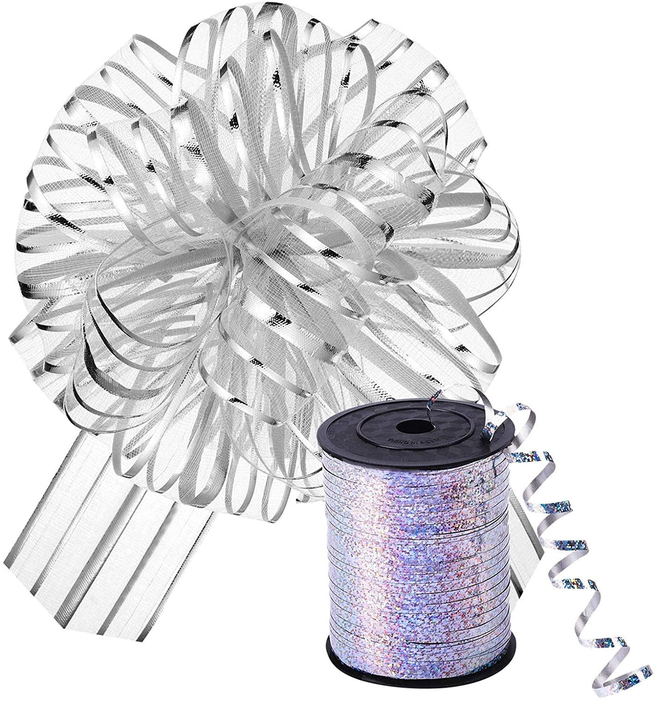 Lookmee 10 PCs Silver Organza Pull Bow with 100 YDs Shiny Ribbon Wrap Set