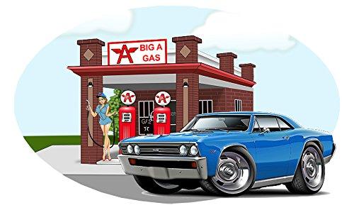 Classic Car 1967 Chevelle Big A Gas Station Wall Decal Vinyl Mural Blue 12