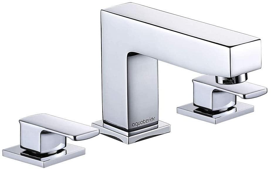 Aquaterior Modern 8 Inch 2 Handle Widespread Bathroom Sink Faucet 3 Hole Bathroom Faucet Chrome(CUPC NSF)