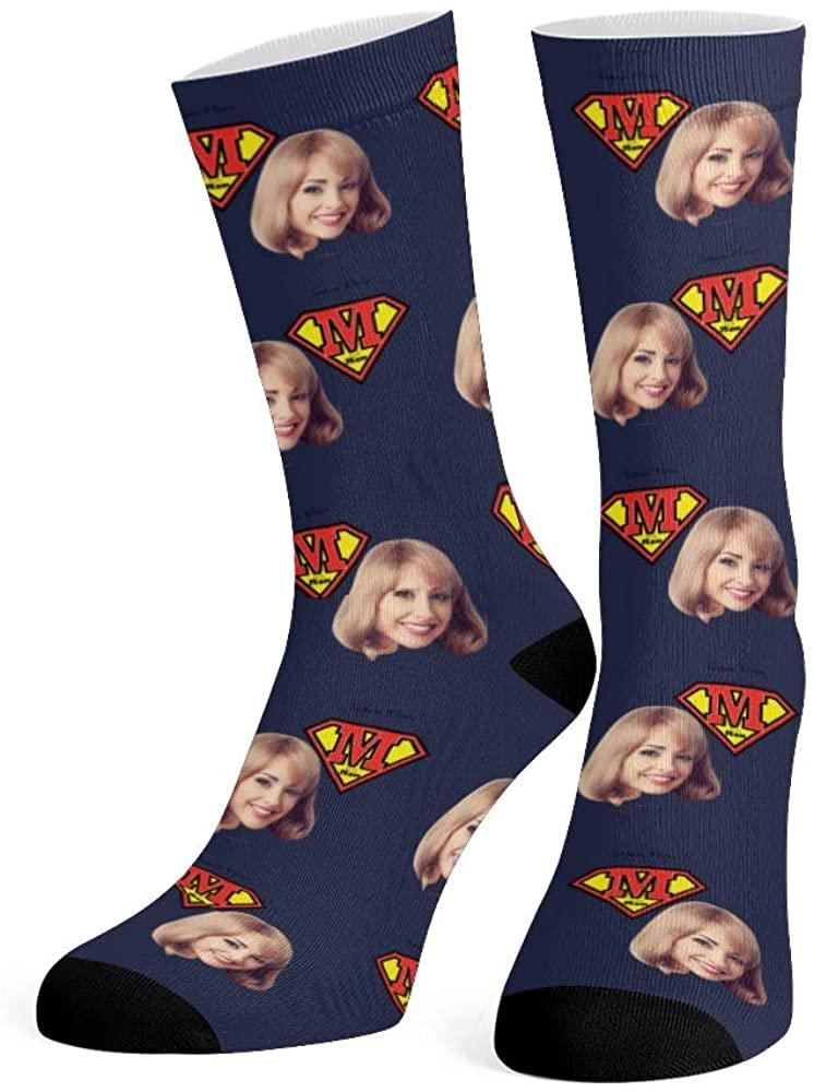 Custom Face Socks with Photo Super Mom Personalized Novelty Socks for Men Women