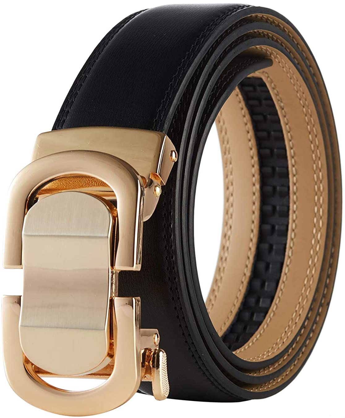 Tonywell Men's Leather Designer Belt with Fashion Comfort Click Buckle Exact Fit