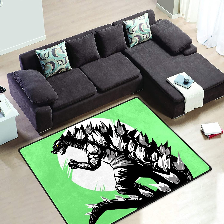 Godzilla Dinosaur 6' x 4' Area Rug Short Pile Velvet Modern Carpet Super Soft Mats Rectangle Floor Rugs for Bedroom Living Room Kitchen Home Decoration