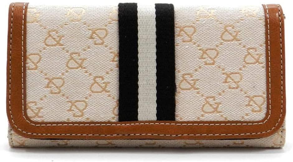 designer inspired canvas signature checkbook L wallet tan black women (beige)