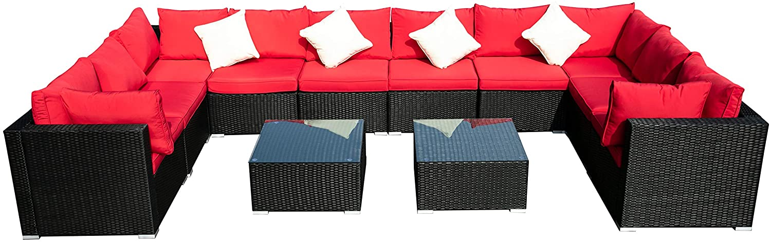 OVASTLKUY Outdoor Patio Furniture Rattan Wicker Sectional Sofa Sets Washable Seat Cushions (12pc, Red)