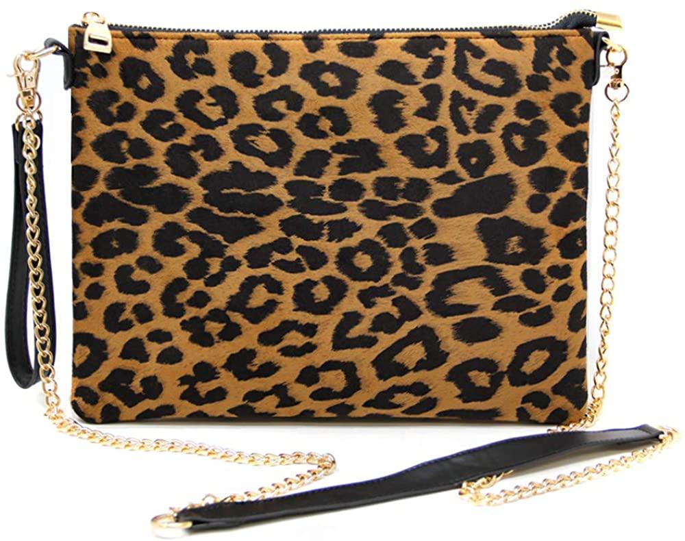 Me Plus Women Fashion Leopard Print Handbag Shoulder Crossbody Bag Clutch Pouch Detachable Gold Chain Strap