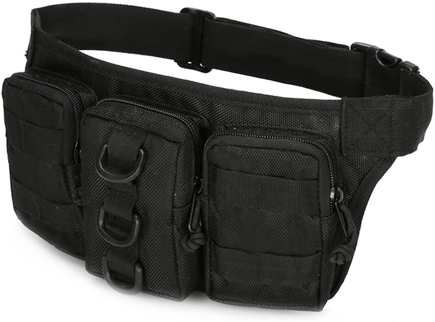 OULII Waterproof Fanny Pack Waist Bag with Separate Pockets for Outdoor Vacation Hiking (Black)