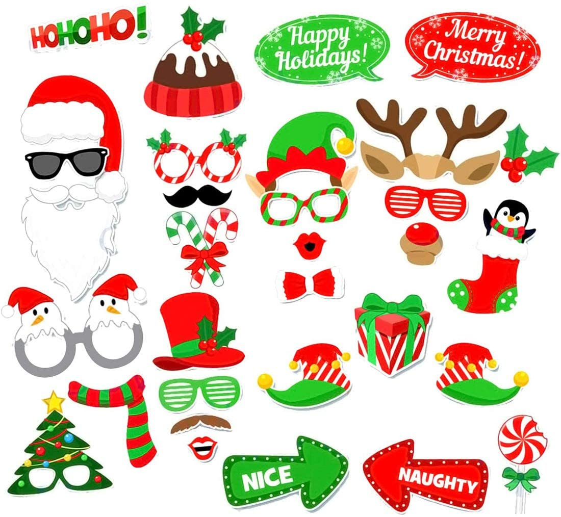Christmas Photo Booth Props,(32Pcs) DIY Christmas Photo Booth with stick Funny Xmas Selfie Props Accessories for Adults Kids for Christmas Theme Party Favors Decorations Decor Supplies
